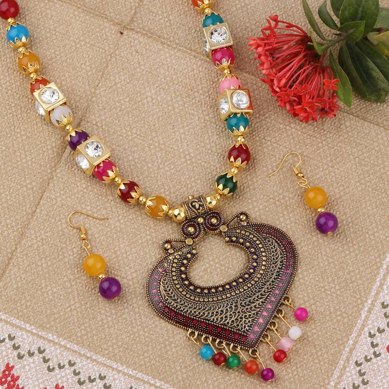 Party Wear Traditional Necklace Set Multi colour Pear Set For women Girls