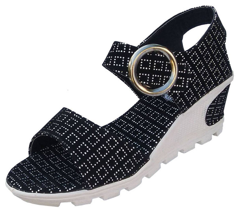 Black Women Wedges Sandals
