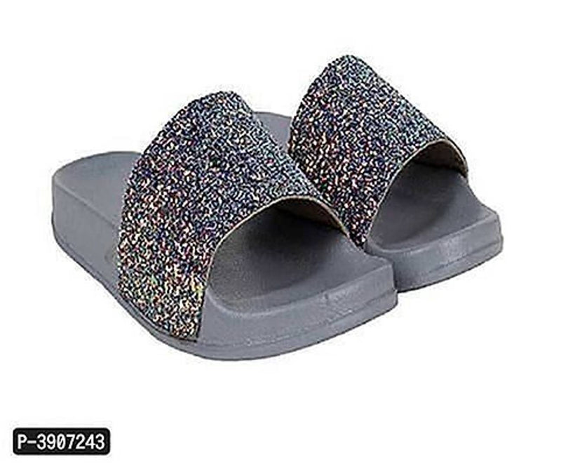 Stylish and Trending  Grey Flip-Flops For Girls Slides