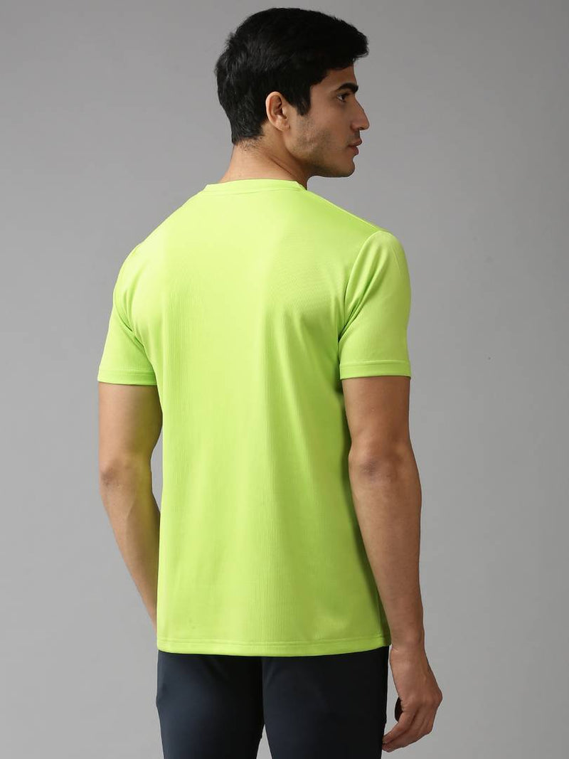 Green Solid Polyester Round Neck Tees
