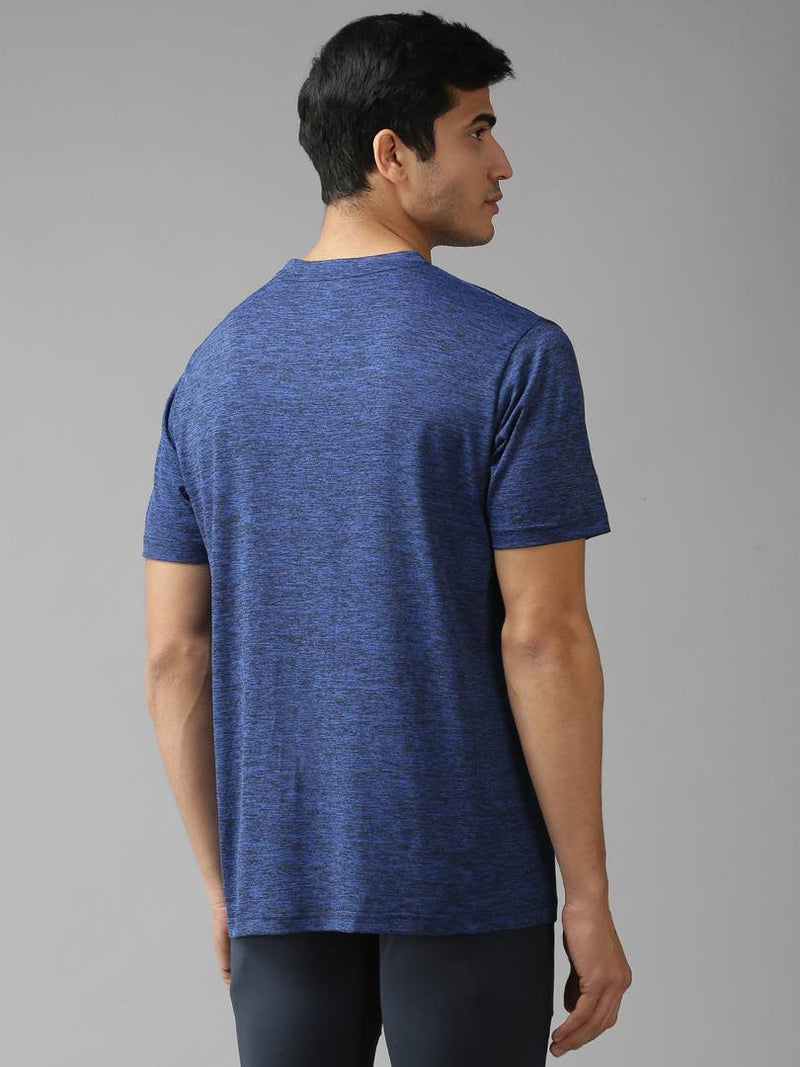 Royal Blue Solid Polyester Round Neck Tees