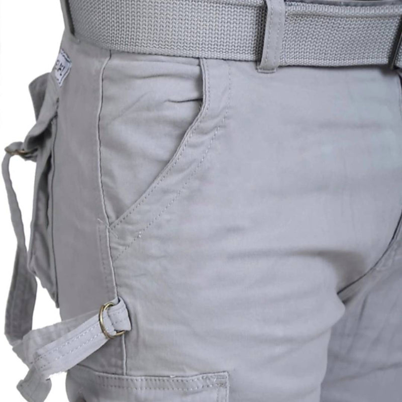 Men's Grey Cotton Solid Regular Fit Cargo