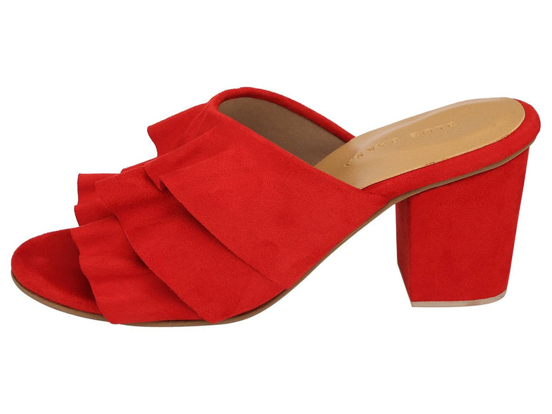 Trendy Red Synthetic Suede Ruffle Block Heel Mule