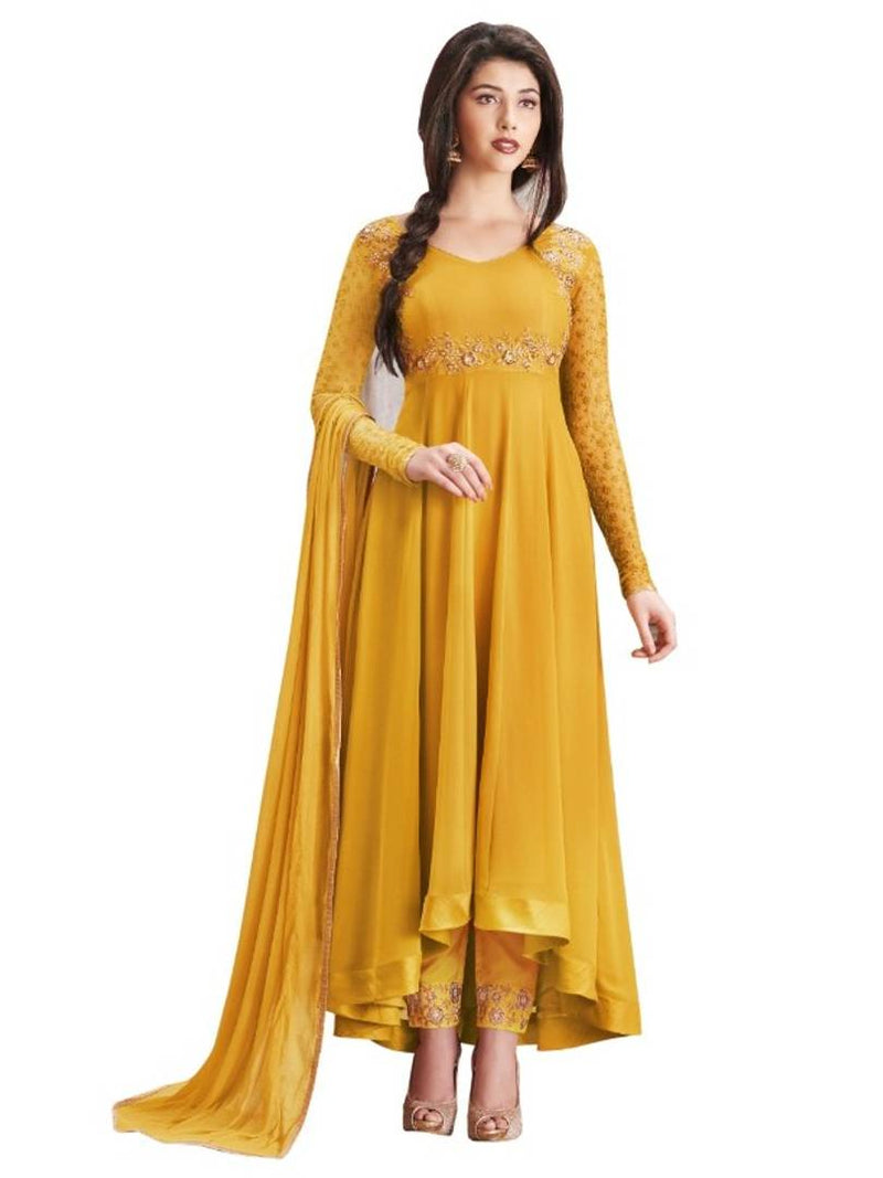 Women's Faux Georgette Embroidered Salwar Suit Sets