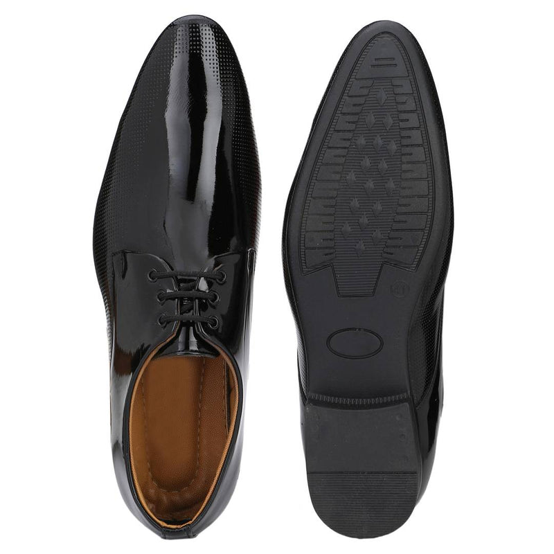 Designer Derby Patent Leather Black Lace-Ups Office Party Ethnic Wear Formal Shoes
