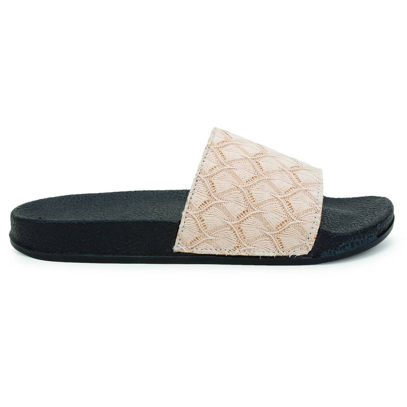 Stylish Fancy Beige Glitter Lace Women Indoor Outdoor Flat Slippers Sliders Flip Flops Girls Slides