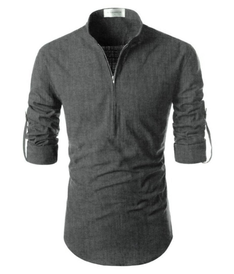 Stylish Grey Cotton Solid Slim Fit Long Sleeves Kurta For Men