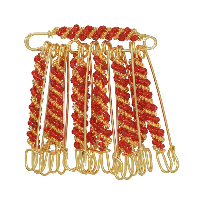 Gold Plated Plated Brass Wired Red Beads Set of 12 Saree Dupatta Ethnic Traditional Clip on safety pins for Women