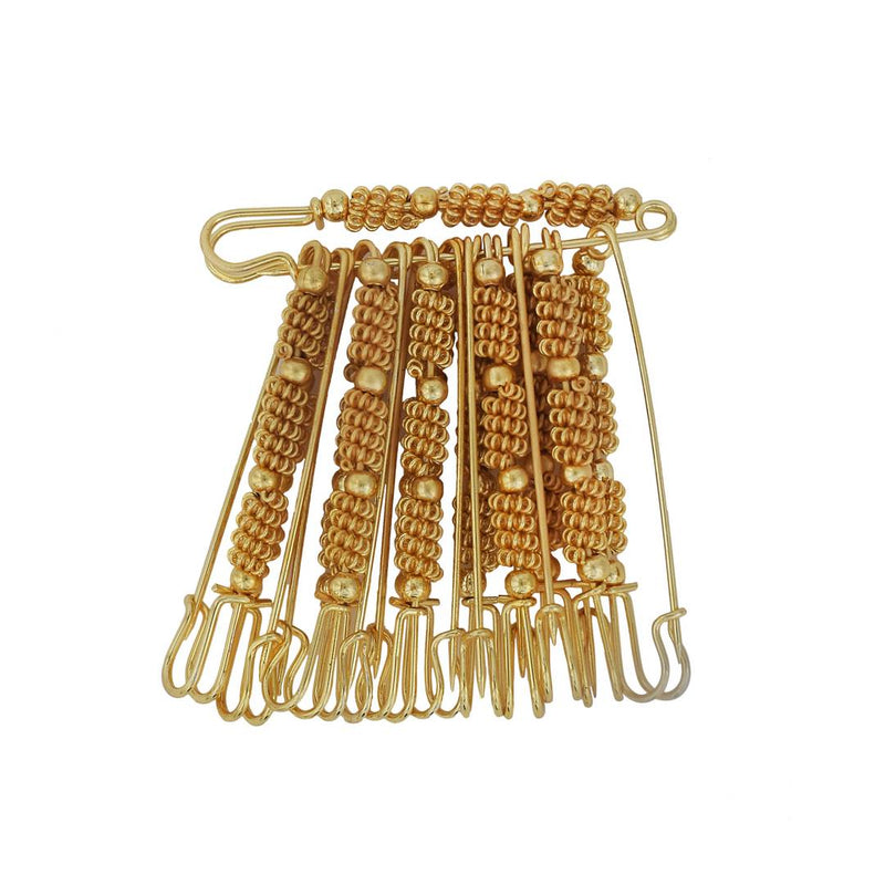 Gold Plated Golden Bead and Wire Bush Design, Set of 12 Saree Dupatta Ethnic Traditional Saree Clip, safety pins for Women