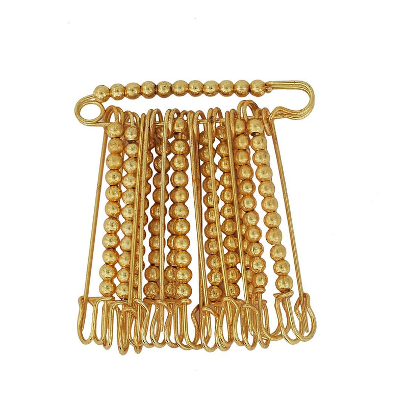 Gold Plated Golden Beaded, Set of 12 Saree Dupatta Ethnic Traditional Saree Clip, safety pins for Women