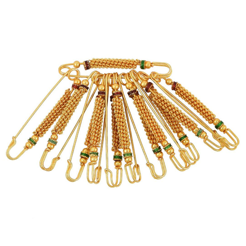 Gold Plated Golden Bead Meenakari, Set of 12 Saree Dupatta Ethnic Traditional Saree Clip, safety pins for Women