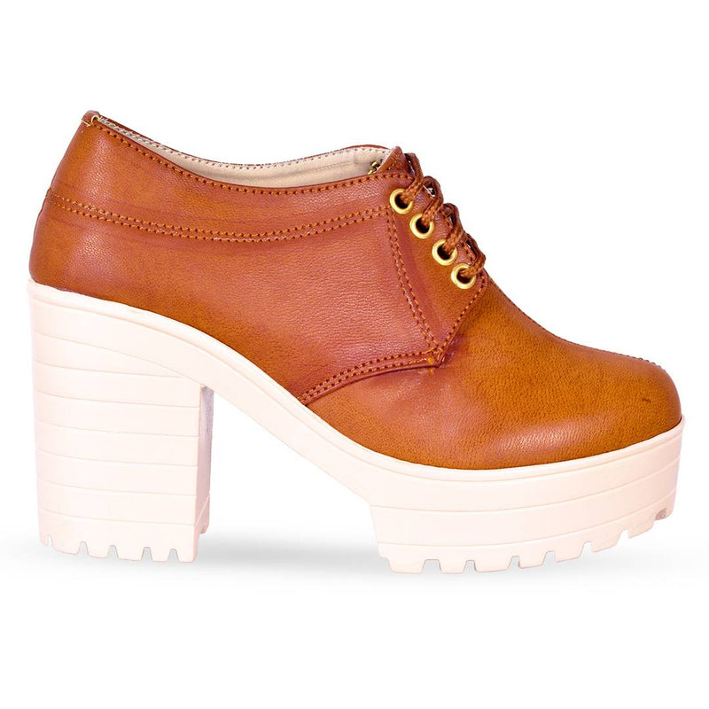 Women Trendy Tan Synthetic Solid Heeled Boots