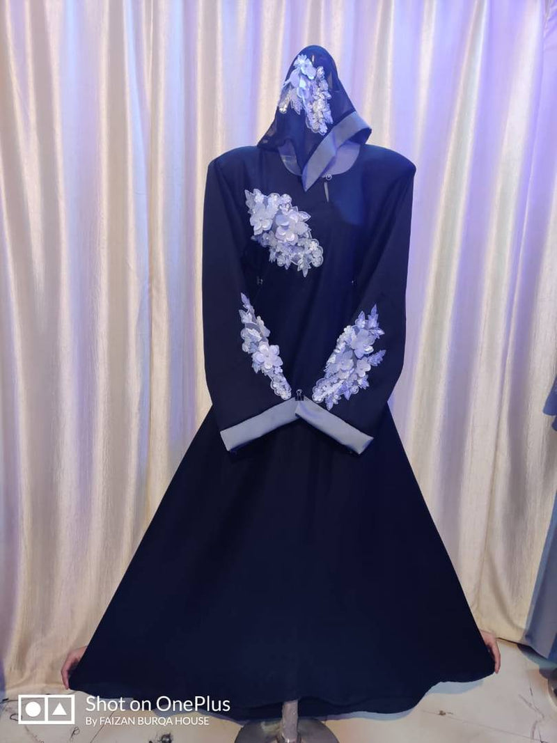 Stylish Navy Blue Cotton Embroidered Abaya