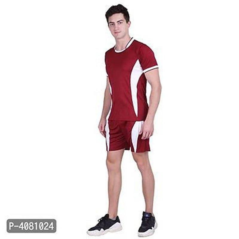 Men Red Polyester Self Pattern Regular Fit Sports Tees & Shorts