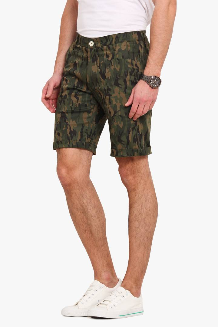 Stylish Cotton Green Printed Slim Shorts For Men