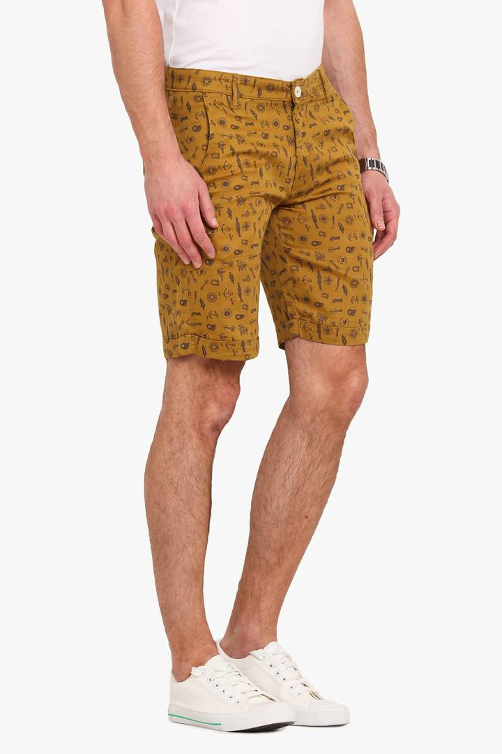 Stylish Cotton Yellow Printed Slim Shorts For Men
