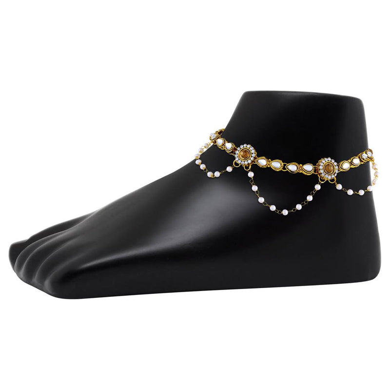 Alluring Alloy Gold Plated Anklet For Women