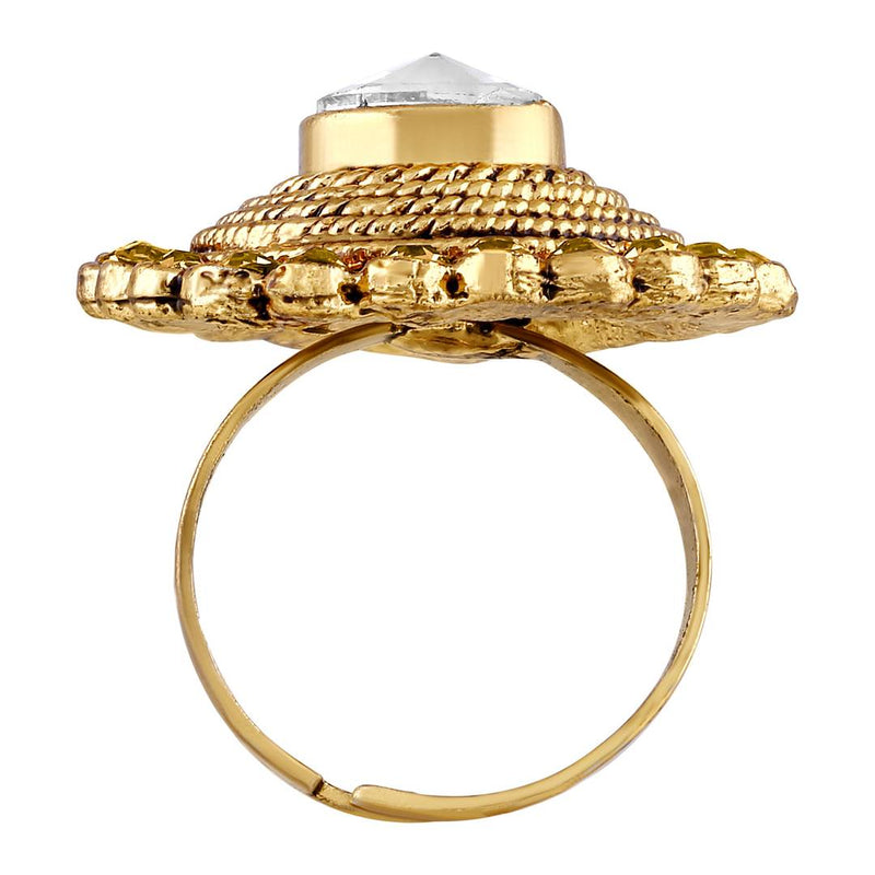 Traditional Designer Gold Plated Finger Ring For Women