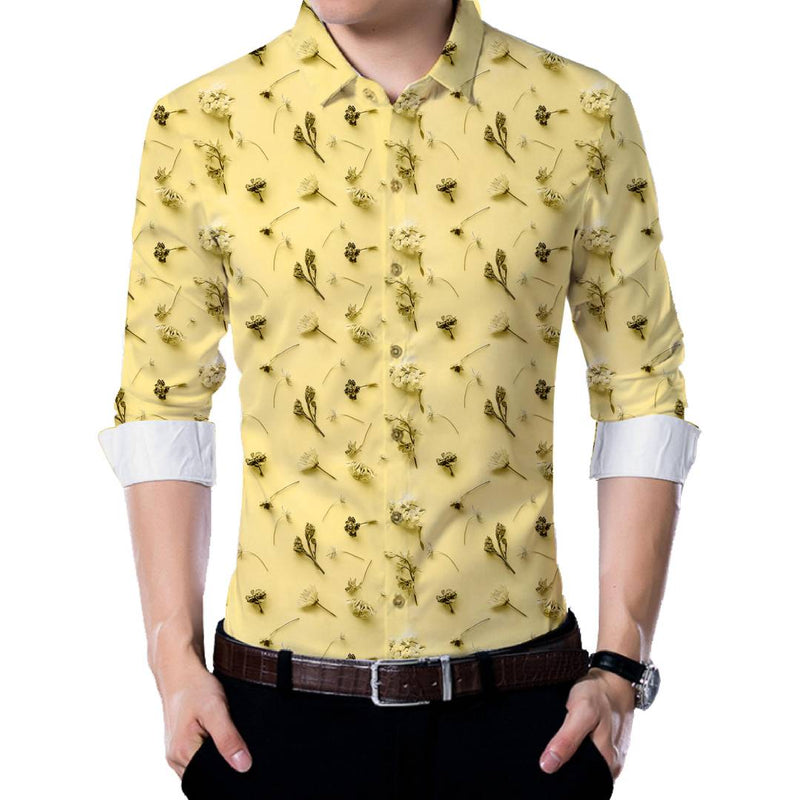 Yellow Poly Blend Unstitched Shirt Piece