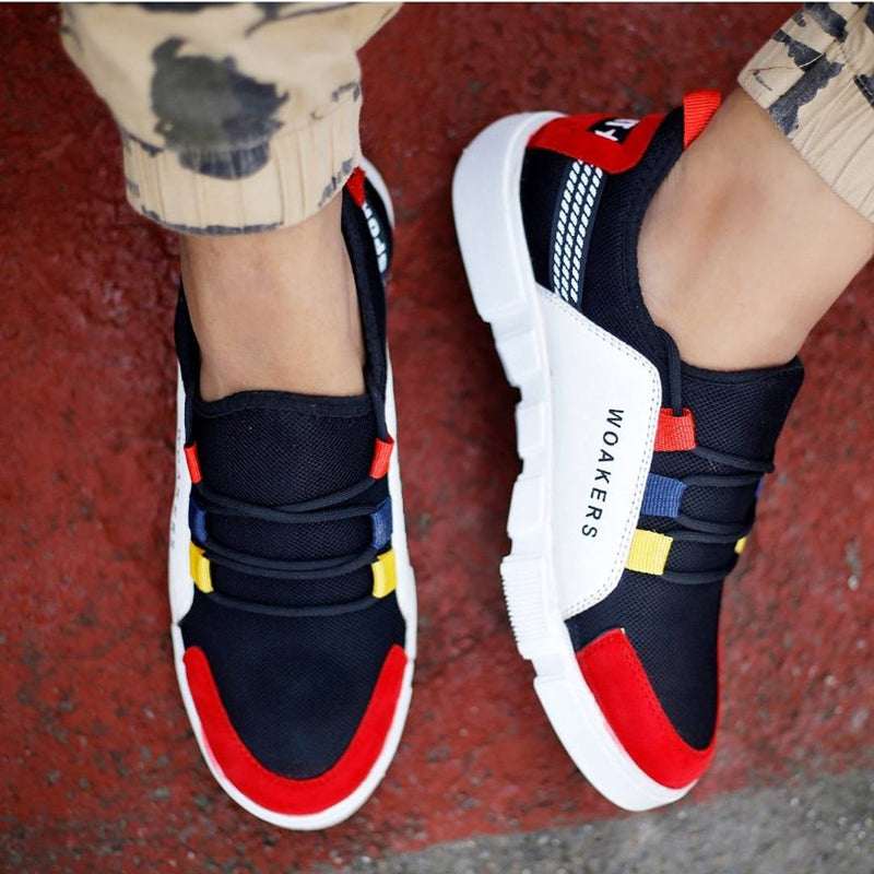 Men Multicoloured Self Design Mesh Sports Shoes