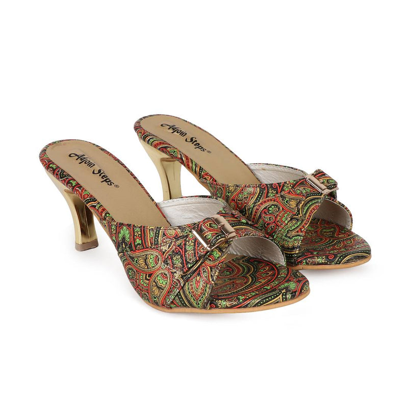 Stylish Multicoloured Synthetic Leather Heeled Sandal For Women