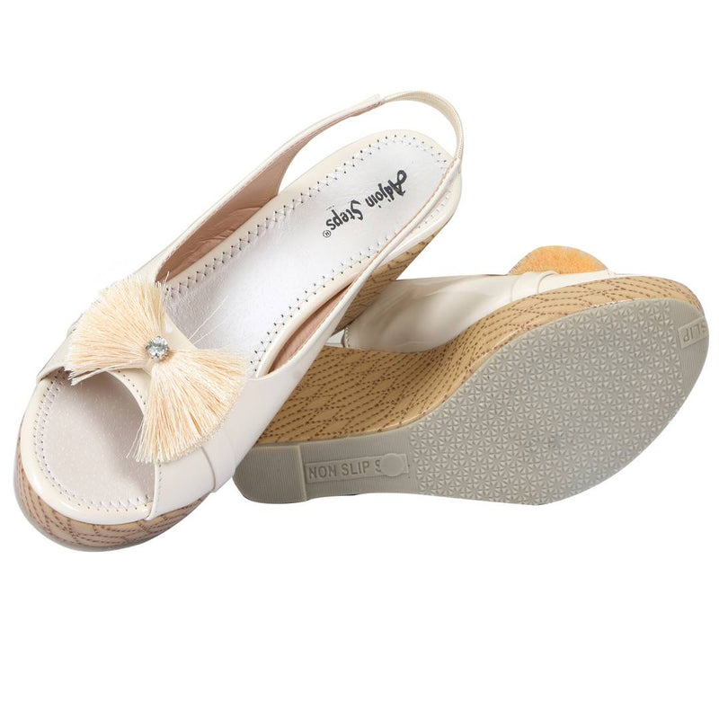 Stylish Cream Patent Wedges For Women