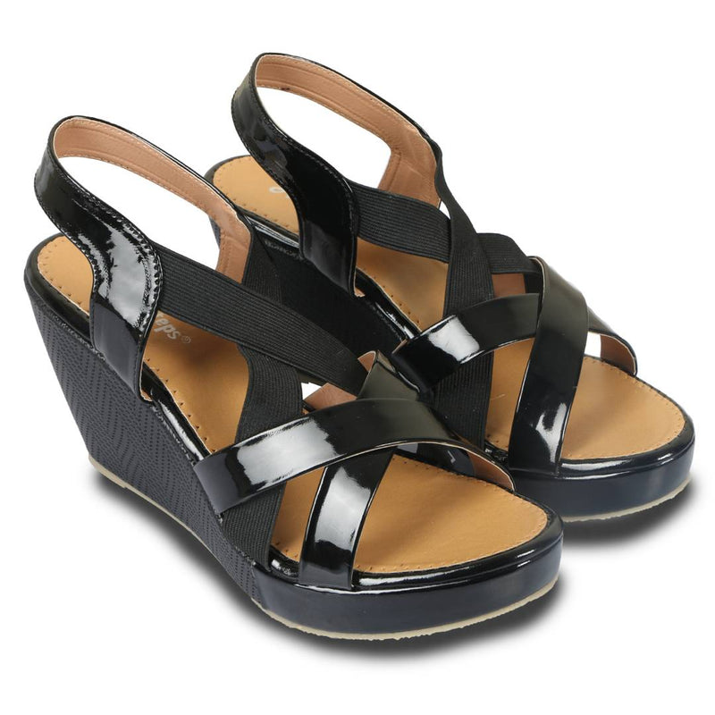Stylish Black Patent Wedges For Women