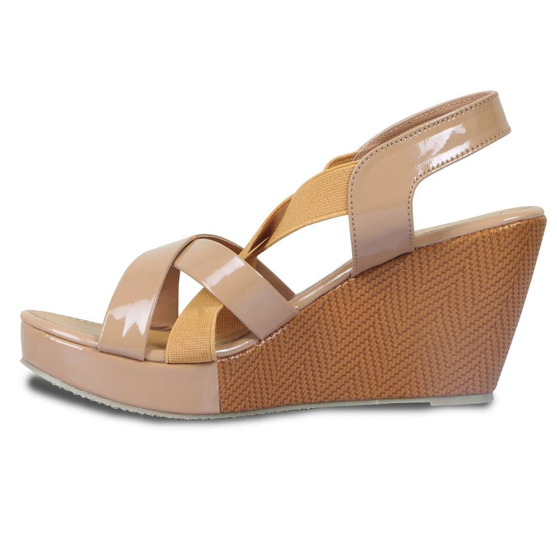 Stylish Beige Patent Wedges For Women