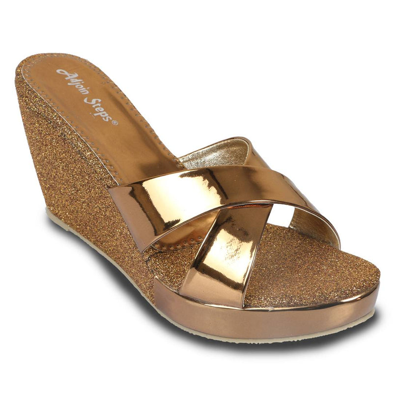 Stylish Copper Patent Wedges For Women