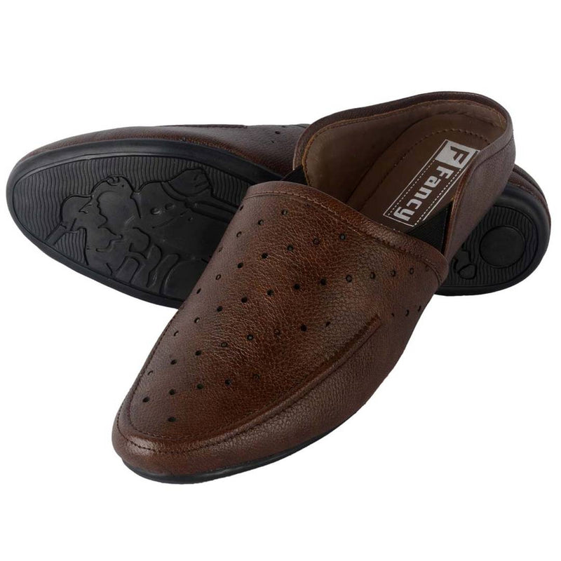 Men's Attractive and Stylish Brown Solid Synthetic Mojaris