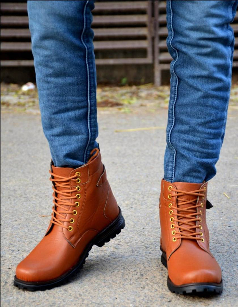 Men's Attractive and Stylish Tan Solid Synthetic Boot
