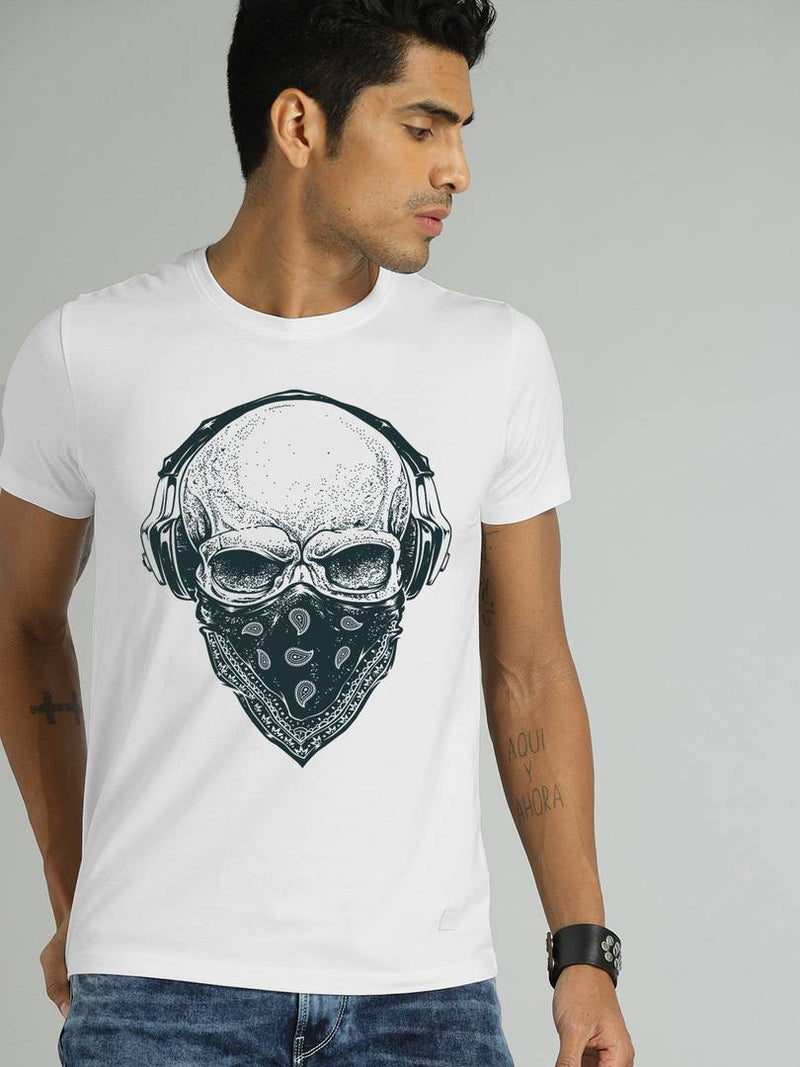 Men's White Printed Dry-Fit Polyester Sports T-Shirt