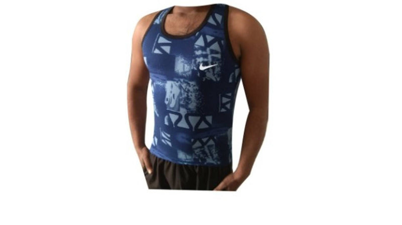 Men's Blue Printed Polyester Sports T-Shirt