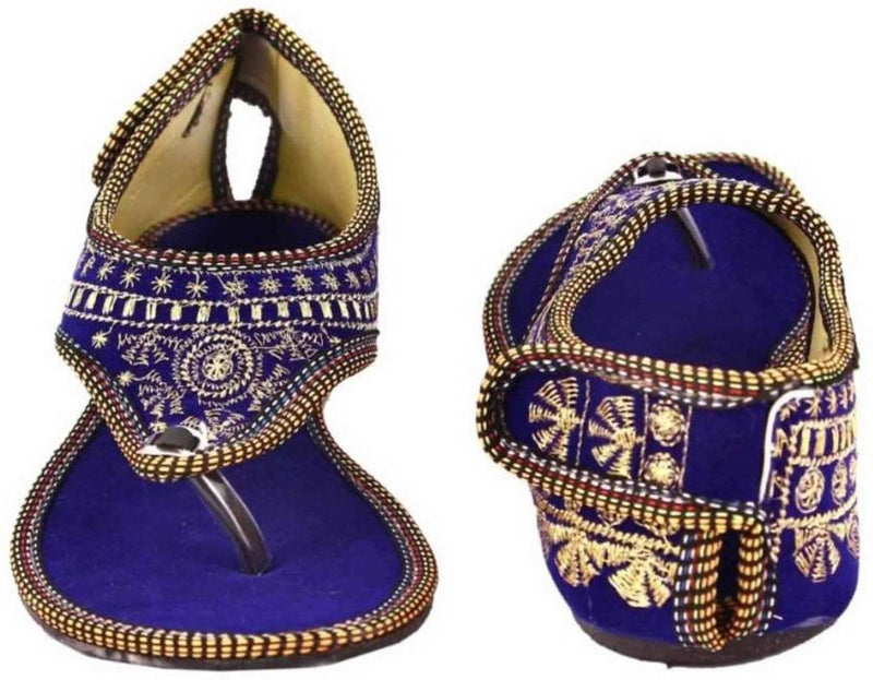 Women's Beautiful and Trendy Blue Self Design Fabric Ethnic Sandal