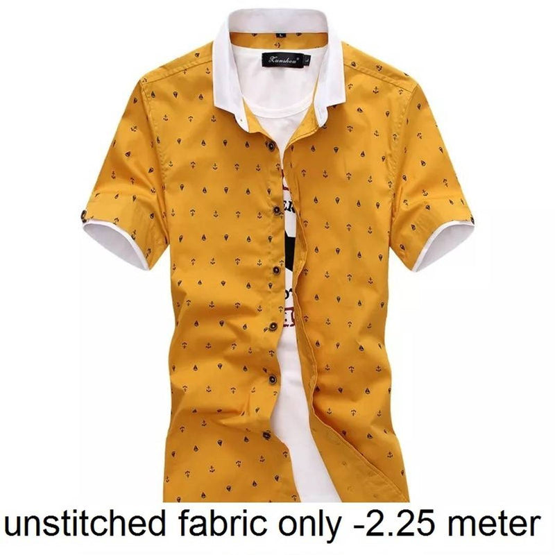 Men's Printed Satin Unstitched Shirt