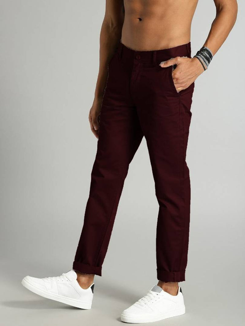 fashlook maroon casual pant for men