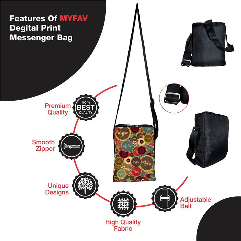 Premium Polyester Circles Print Messenger Sling Bag For Men And Women