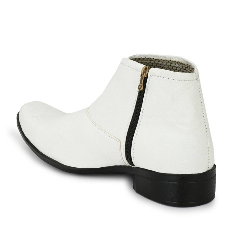 Popular White Leatherette Zipper High Ankle Length Casual Chelsea Boots