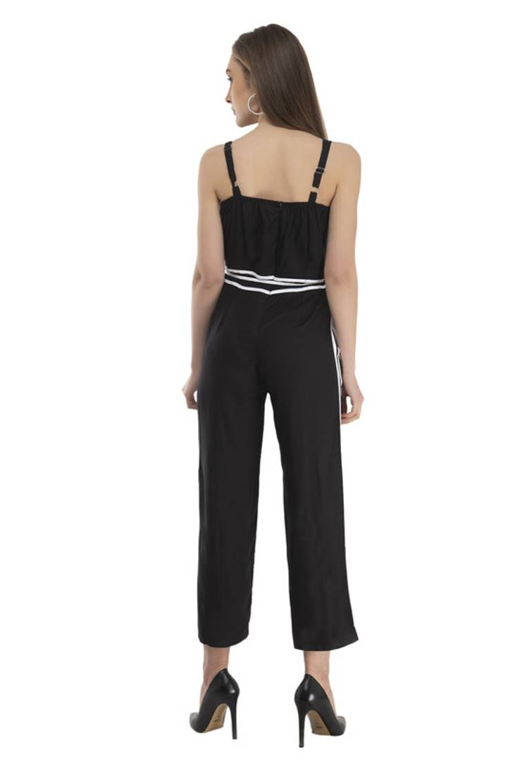 Women's Stylish and Trendy Black Self Design Rayon Jumpsuit