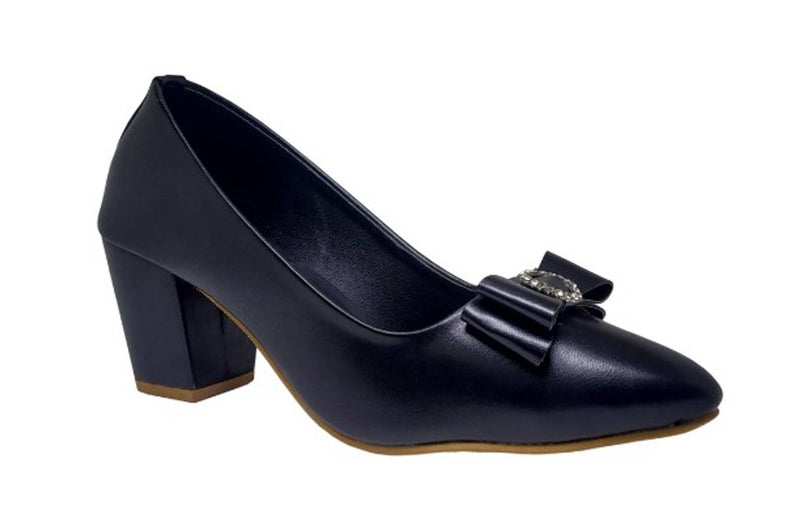 Stylish Synthetic Leather Black Heeled Bellies For Women