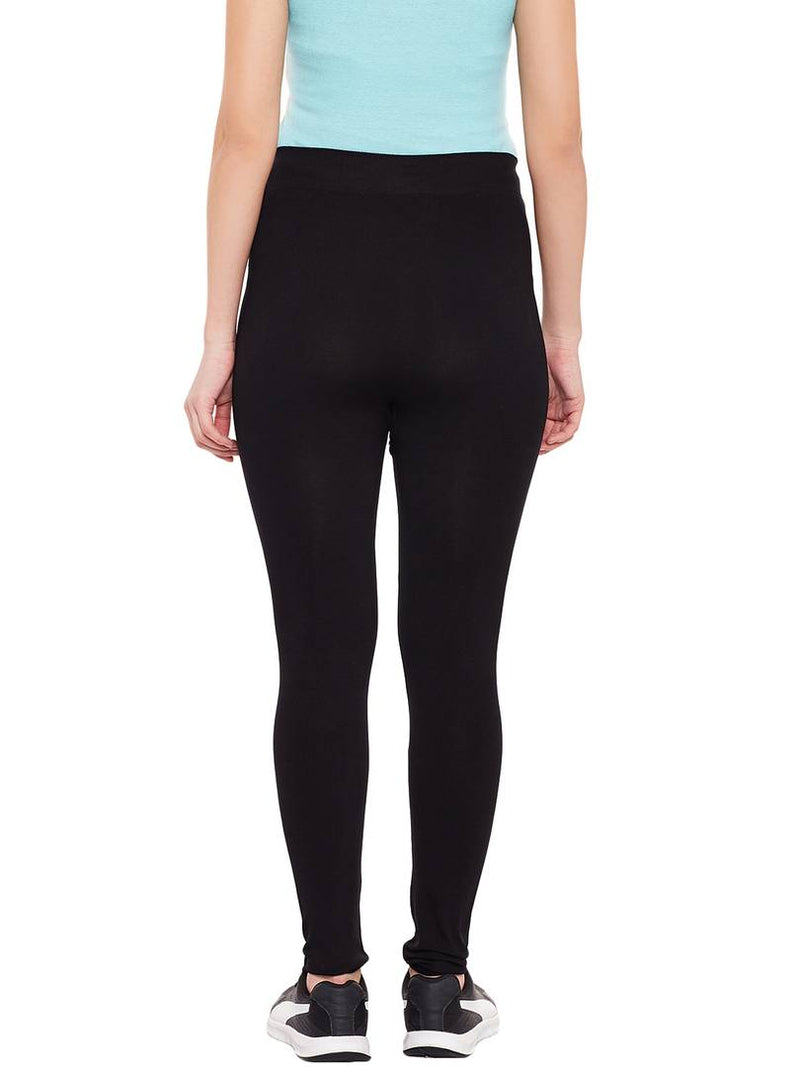 Comfy Black Synthetic Printed Tight For Women