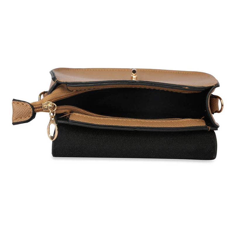 Women's Regular Size Embellished Brown Leatherette Sling Bags