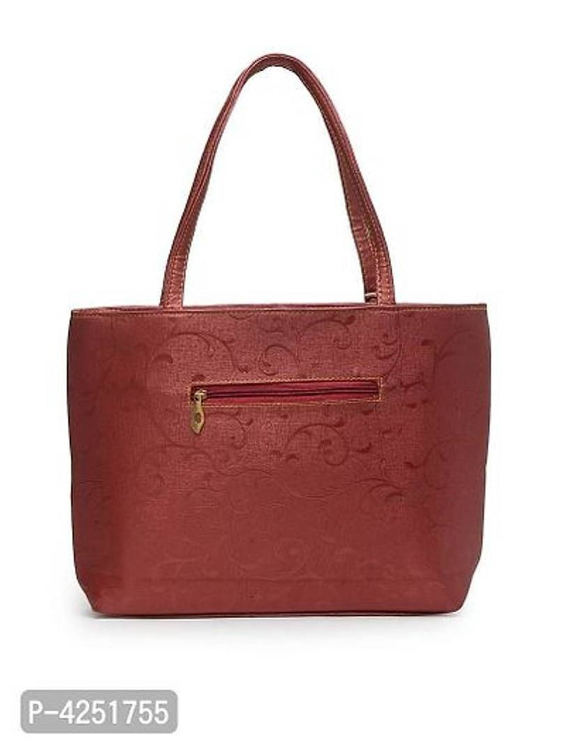 Fashionable Maroon PU Tote Bag