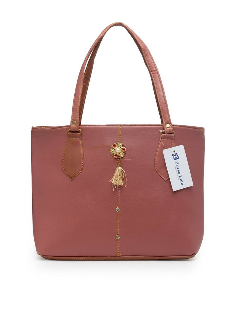 Fashionable Nude PU Tote Bag