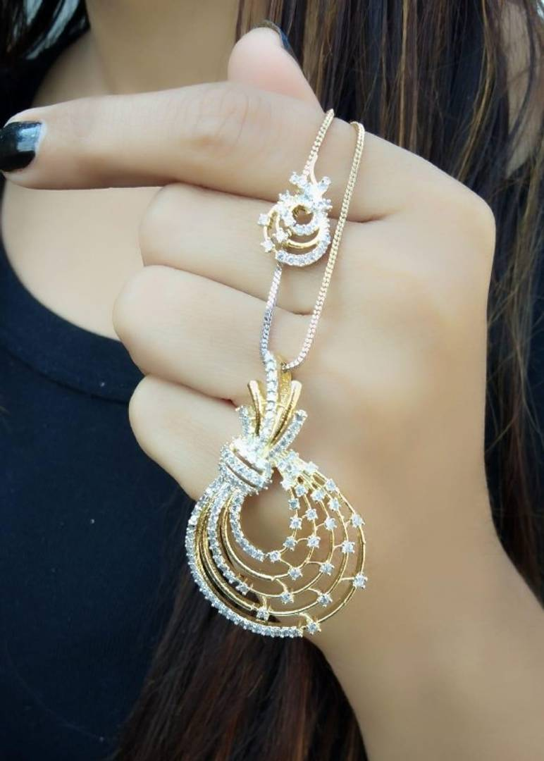 Alloy luxury american diamond pendant set with earing