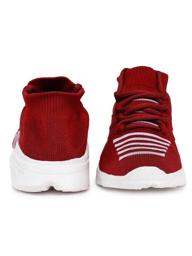 Trendy Maroon Fabric Running Shoes For Women