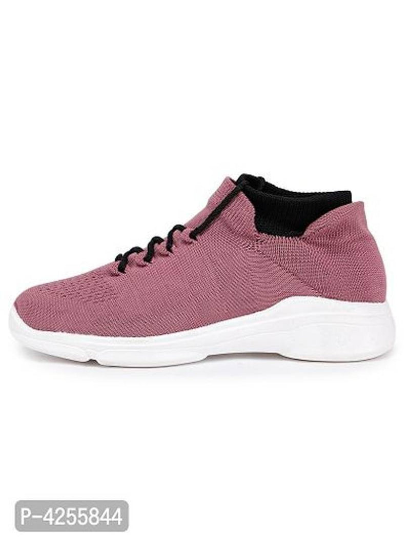 Trendy Pink Fabric Running Shoes For Women