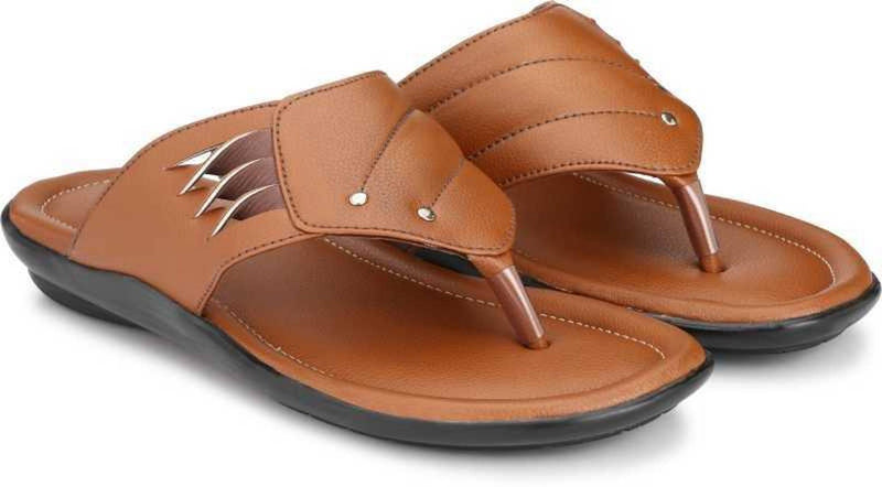 Brown Synthetic Leather Solid Comfort Flip Flop