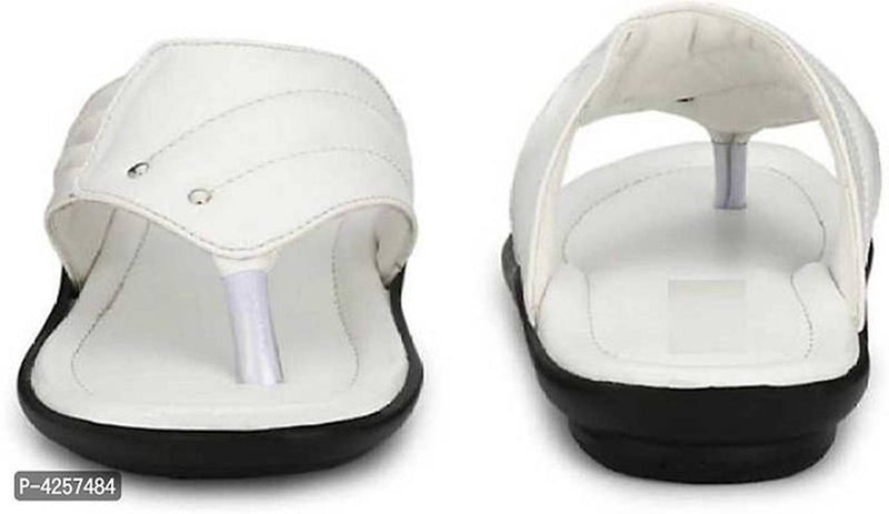 White Synthetic Leather Solid Comfort Flip Flop