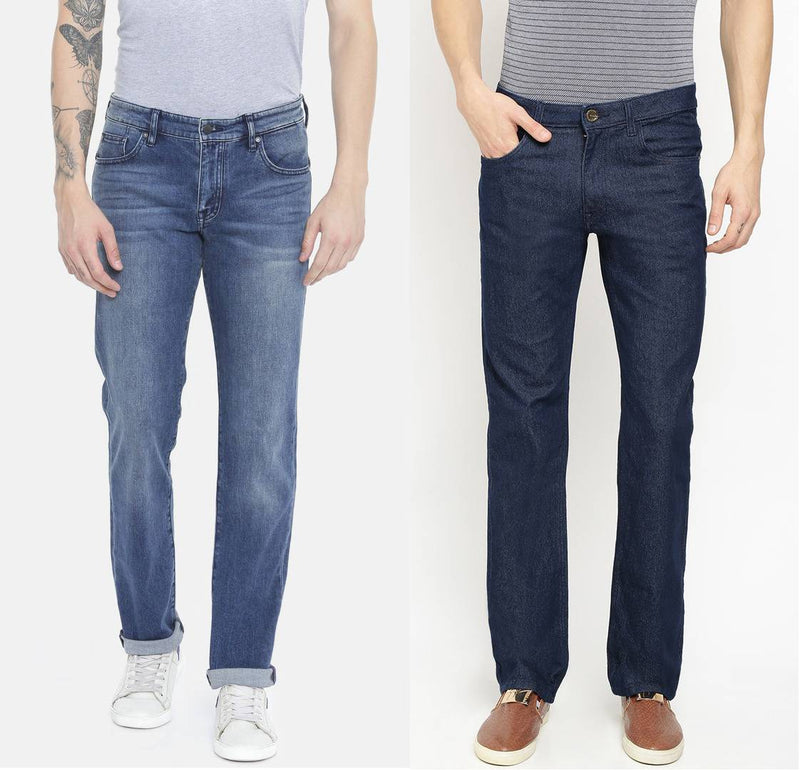 Comfy Multicoloured Cotton Spandex Denim Jeans For Men (Pack Of 2)